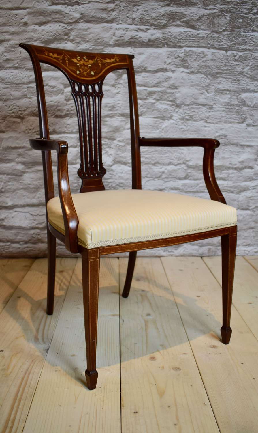 Late 19th C. inlaid armchair